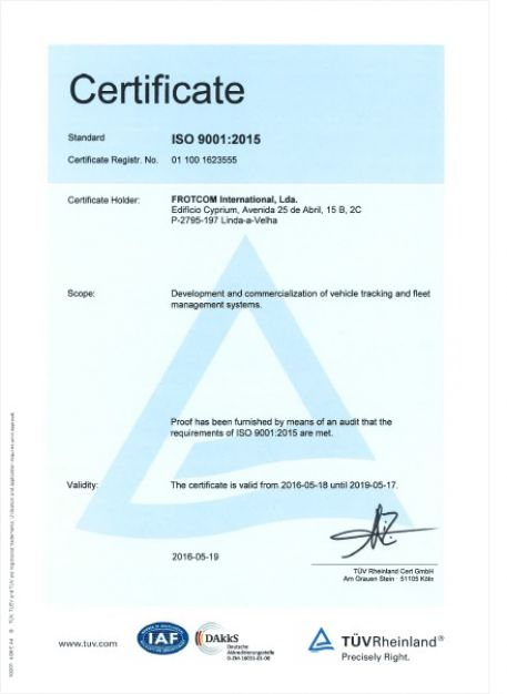 Frotcom - ISO 9001:2015 certificate