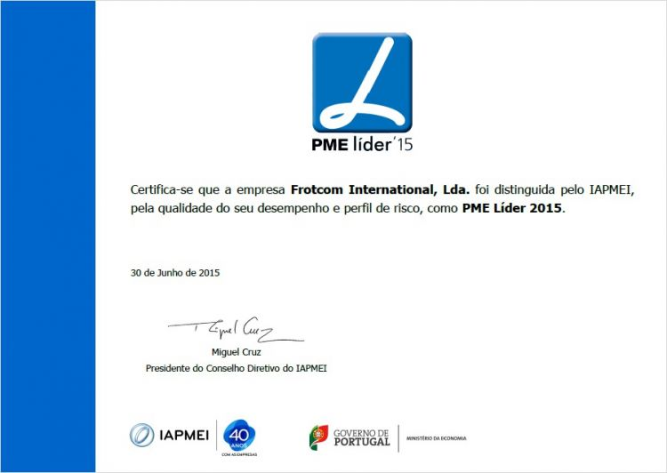 "Blog Card - Frotcom International once again distinguished as ""PME Líder"" 2015"