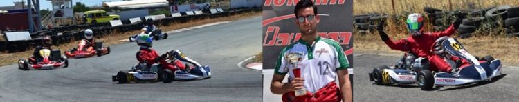Constantinos driving his brand new kart; in the pole; and after the chequered flag.