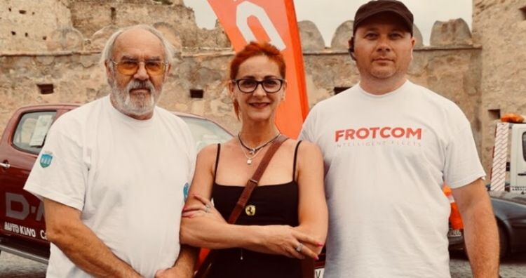 From left to right: Mr. Victor Pop, Mrs. Karmina Giurgiu (Chief Organizer of Baja Rally) and Cosmin Graitaru (Frotcom Romania's Chief Engineer).