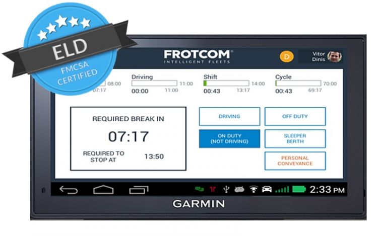 Frotcom's ELD module uses Garmin's line of Android devices, the fleet 6x0 and 7x0.