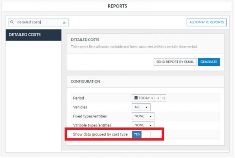 Grouping option on Frotcom's Detailed Cost report