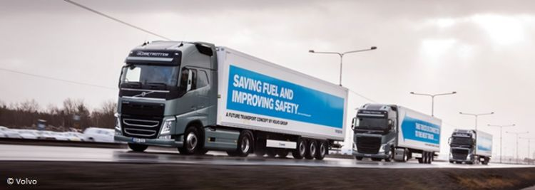 Volvo self-driving truck platoon in the European Truck Platooning Challenge