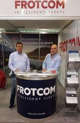Leon Jakšič from Frotcom Slovenija visiting Frotcom Macedonia's booth.