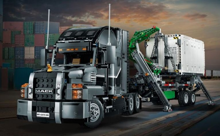 Striking Mack Anthem truck turned into a Lego set